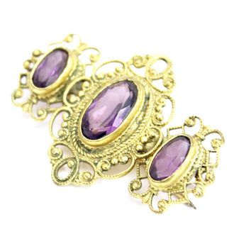 Victorian Neck Brooch 3 Amethyst Stones Bezel Set Ornate Gold Wash Setting 1 3/4""