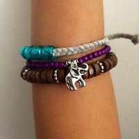 Wood, charm, pony, purple, turquoise, silver, india, Unisex stacked braided suede adjustable anklet, ankle bracelet, anklet meaning, anklet
