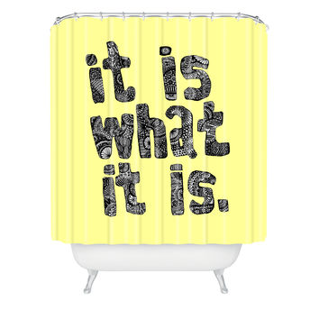 Romi Vega What It Is Yellow Shower Curtain