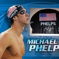 Michael Phelps Signed Speedo Swim Cap Olympic Gold Swimming Just Like He Wears w/ Picture From the Only Signing Ever & 2 Coas Rare