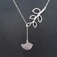 sterlingsilver bird and branch necklace, modern, mother's day gift, ch