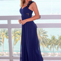 Navy Maxi Dress with Pleated Top and Crochet Detail