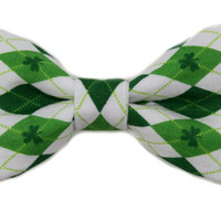 Green Argyle Shamrock Clip On Bow Tie