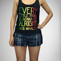 Bob Marley Every Little Thing Fringed Junior Fitted Tank