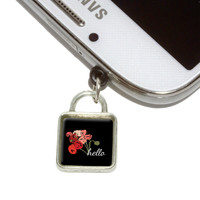Hello Bouquet Flowers Ranunculus Square Mobile Phone Silver Charm