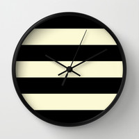 Black and Cream Stripe Wall Clock by Color and Form   Society6