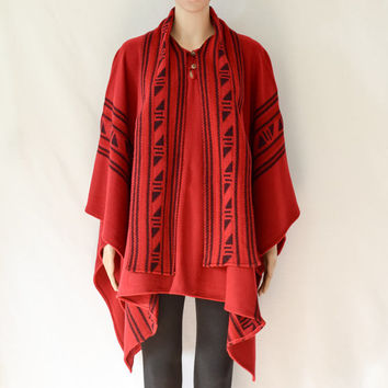 Women Knit Poncho with Scarf_E82