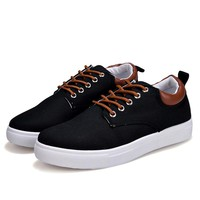 NEW Spring Men Casual Shoes Fashion Breathable Lace-Up Canvas Shoes Flat Shoes