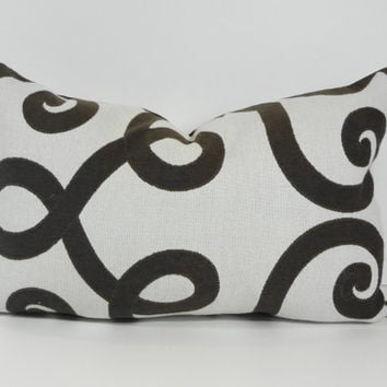 Decorative Chocolate Brown Swirls Lumbar Pillow Cover, 12 x 18, Brown and Cream, Cushion Cover