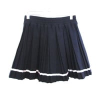 90's A Line Pleated High Rise Ribbon Trim Mini Skirt size - S/M