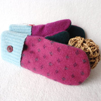 Felted Sweater Wool Mittens PINK & GREEN Fair Isle Fleece Lined Wool Mitts by WormeWoole