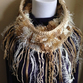 Handmade Textured Neutral Tones Scarf Cowl Fringe Infinity Neckwarmer Boho Shawl Scarf Bulky Knit Cowl Chunky Crochet Fringe Scarf