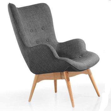 Mid Century Modern Armchair Chair Retro Contour Chair Living Room Furniture Muted Fabric Armchair Fabric Upholstery Accent Chair