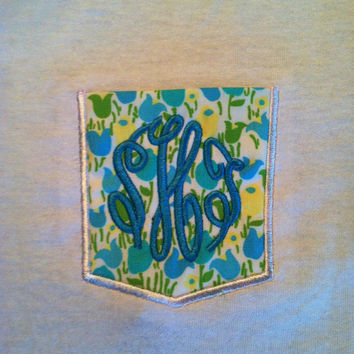Lilly Pulitzer Blue Bliss monogram Frocket