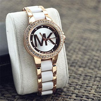 MK Ladies Watch Stylish Pottery Quartz Rhinestone Korean Fashion Bracelet Watch