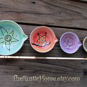 Pottery measuring cups set ready to ship owl flower sun spiral set of 4