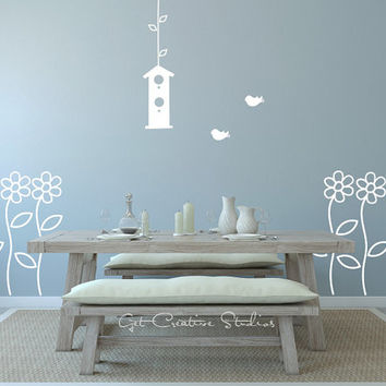Daisy Wall Decal Sticker - Garden, Daisy, Bird, House, Spring, Garden, Flight, Calming, Stems, Drawing, Floral
