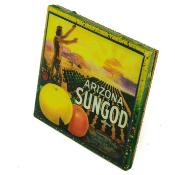 Arizona SunGod Brand - Vintage Citrus Crate Label - Handmade Recycled Tile Coaster