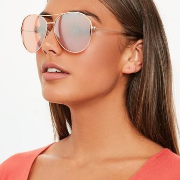Missguided - Rose Gold Glam Aviator Sunglasses
