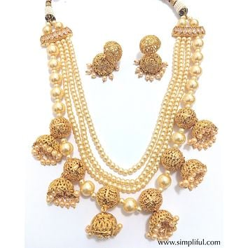 Unique multiple jhumka hanging multi stranded faux pearl statement necklace and Earring set