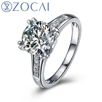 ZOCAI Real 1.0 CT Certified F-G/VS Round Cut Diamond Engagement Women Ring 18K White Gold (AU750) W04710
