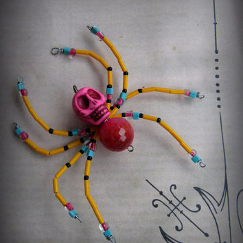 Bright Pink and Orange Skull  Spider Ornament Suncatcher