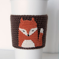 Red Fox Cozy, cup cozy, coffee cozy, crochet sleeve, crochet fox applique, chocolate brown sleeve, umber rust fox with natural highlites