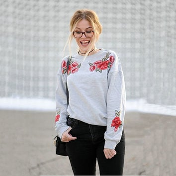 Floral Embroidery Women's Fashion Hoodies [11735842063]