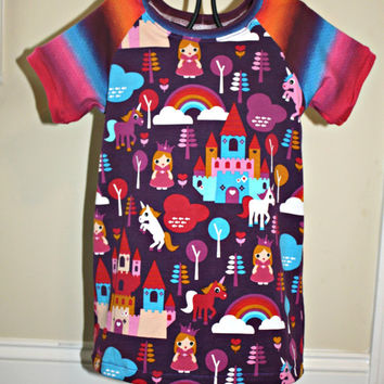 Raglan A-line dress 18-24 months, rainbow, castle, unicorn handmade dress with short sleeves, handmade