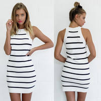 White Striped Sleeveless Mini Dress