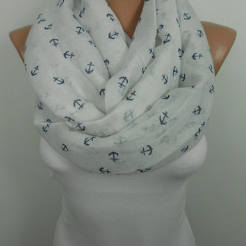 Anchor Scarf Shawl Beach Wrap Nautical Scarf Cotton Infinity Scarf Men Women Fashion Accessories Gift ideas For Her For Him Mothers Day Gift