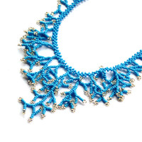Turquoise Blue Necklace With Silver. Bridesmaid Necklace. Wedding Necklace. Beadwork