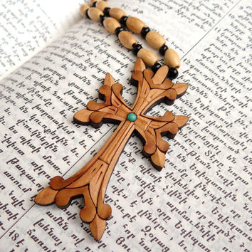 Cool Wooden Cross Pendant Chain Art Nouveau Turquoise Wooden Rosary Bead Necklace Wood Cross Necklace Religious Jewelry