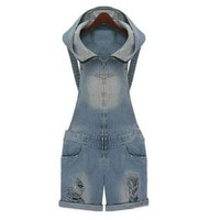 Promithi Women's Hooded Overall Pants Washed Jeans Denim Hole Shorts Jumpsuit
