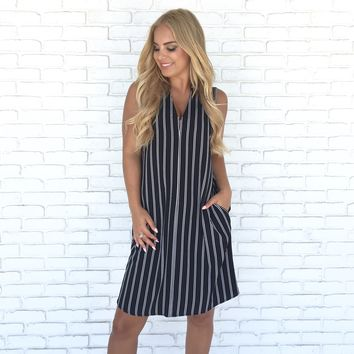 Built This City With Stripes Shift Dress