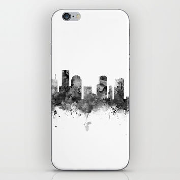 Houston Skyline Black and White iPhone Skin by monnprint