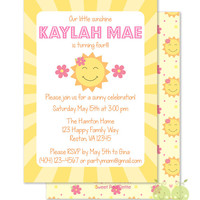 "You are my Sunshine Birthday Invitations - Personalized 5 x 7"" - Double-Sided and Printed Birthday Invitations - Sunshine Party"