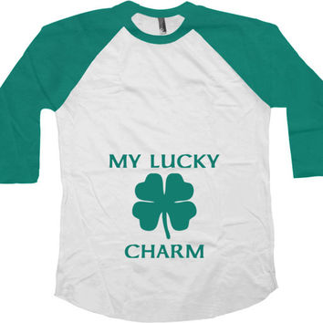 St Patricks Day Pregnancy Announcement St Paddys Day Shirt Pregnant T Shirt Shamrock Clover My Lucky Charm Baseball Raglan Tee - SA737