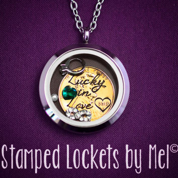 Lucky in Love - Hand Stamped Stainless Steel Necklace - Floating Glass Memory Locket - Anniversary Gift Personalized - Wedding Day Jewelry
