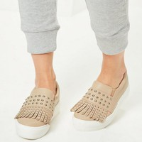 Missguided - Nude Tassel Studded Flatform Trainers