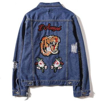 Trendsetter GUCCI Fashion Tiger Embroidery Distressed Denim Cardigan Jacket Coat