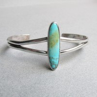 Native American 1970's Vintage Sterling Silver Elongated Royston Turquoise Cuff Bracelet