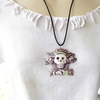 Ceramic Pendant Necklace Jewelry Dios de la meurte Sugar skull Day of The Dead