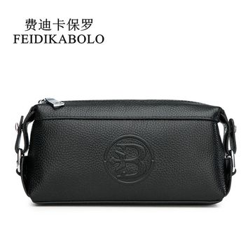 FEIDIKABOLO Genuine Leather Men Wallets Men's Purse Clutch Bags Handy Bag Portable Long Male Purses Carteira Masculina Man Walle