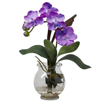Silk Flowers -Mini Purple Vanda With Fluted Vase Flower Arrangement