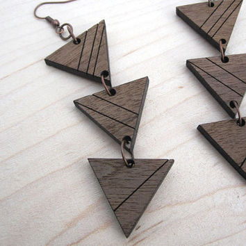 Laser Cut Jewelry Striped Triangle Geometric by HavokDesigns