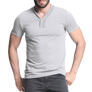 2017 Summer Men T-Shirt Fashion Men's Brand Clothing Short Sleeve Slim Fit Casual Plain Tee Henley Shirt Homme Male Men T Shirt