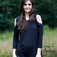 Sweet Claire Black Cold Shoulder Knit Top with Ruffle Detail