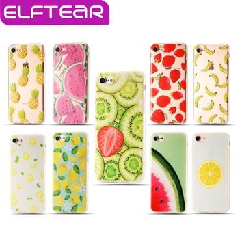 Fruit Painted Case For iPhone 6 6s Plus iPhone 7 7 Plus Soft TPU Fruits Pattern 3D Relief Printing Phone Back Cover Fundas Coque