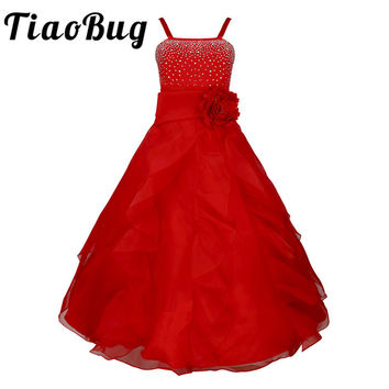 2017 New Arrival Summer Flower Princess Girls Dress Party Wedding Birthday Floor Length Dresses for Girl Clothes Tutu Prom Dress